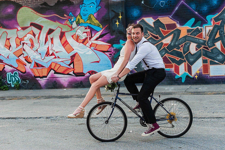 wedding couple on bike in NYC