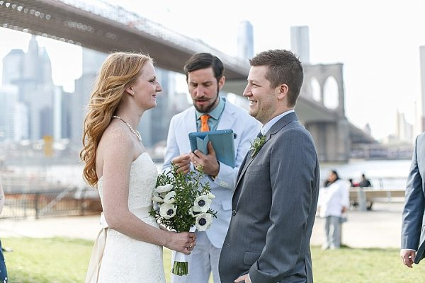 Lydia and Dan's laughter filled elopement under the Brooklyn Bridge