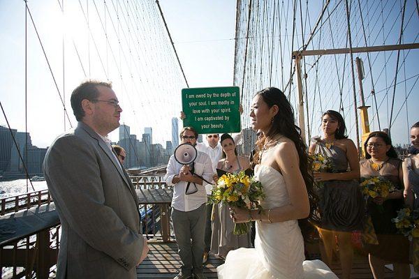 Milli and David's Renegade Aerialist Wedding On the Brooklyn Bridge
