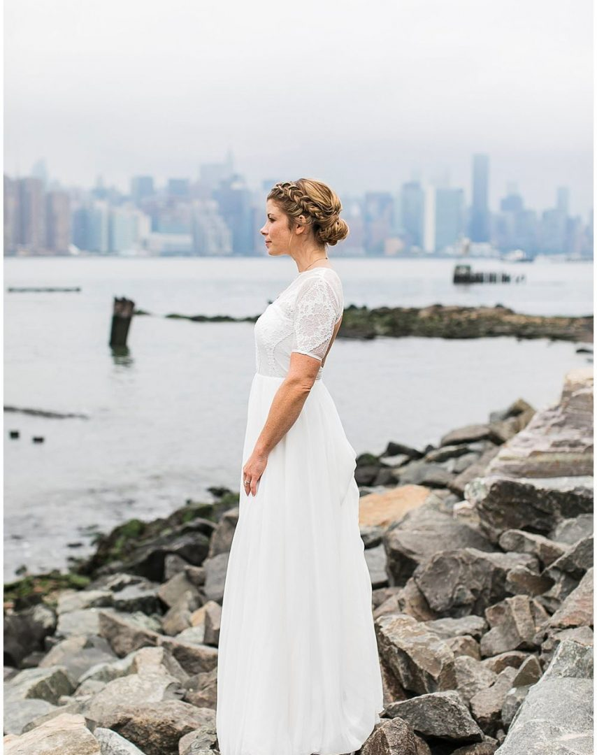 bride on the brooklyn waterfront