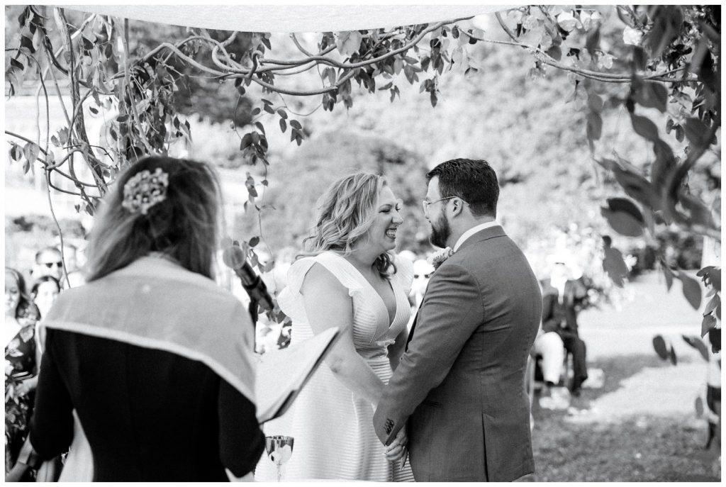 happy couple black and white photo